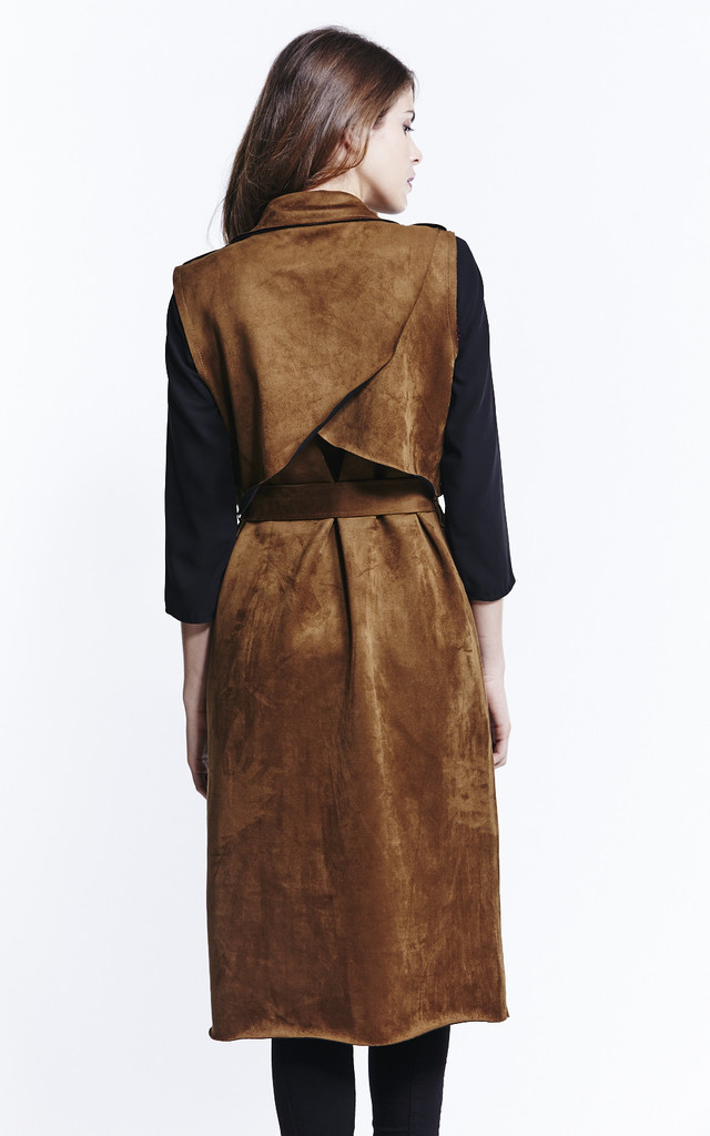 Sleeveless Tan Suedette Trench Coat by Liquorish