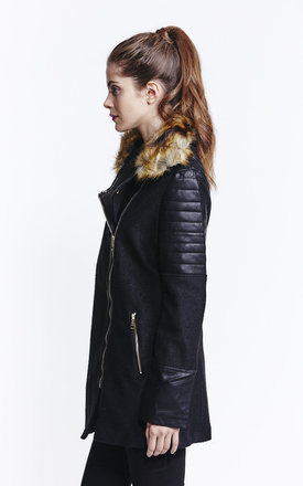 Black Wool Biker Jacket With Faux Fur Collar In Longer Length by Liquorish