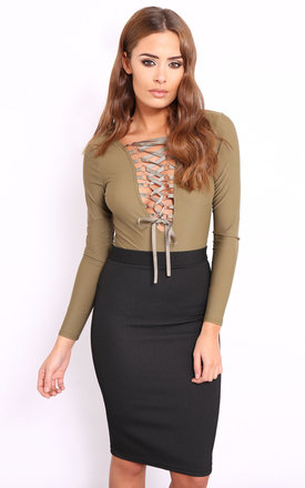 Perrie khaki lace up bodysuit by Dolly Rocka Product photo