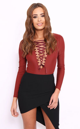 Ginnie red lace up bodysuit by Dolly Rocka Product photo
