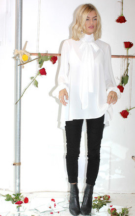 Ivory Pussy Bow Blouse by Never Fully Dressed