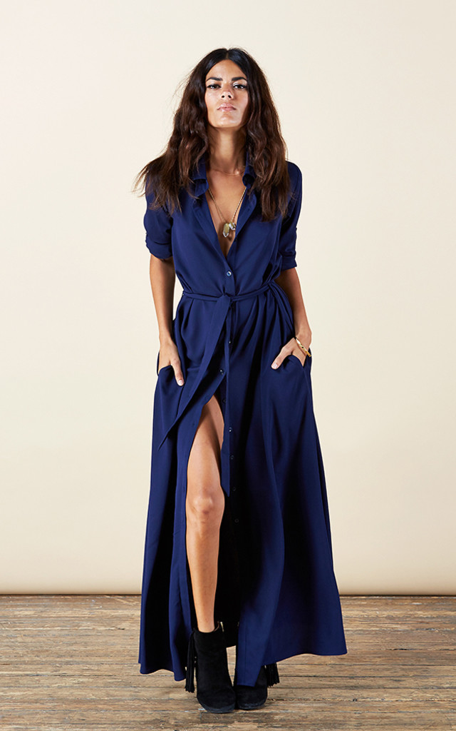 Maxi Shirt Dress In Navy Silkfred