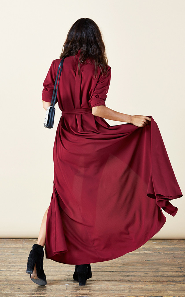 Maxi Shirt Dress in Oxblood image