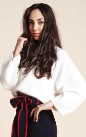 Wide sleeve knit jumper - white by One O Eight Product photo