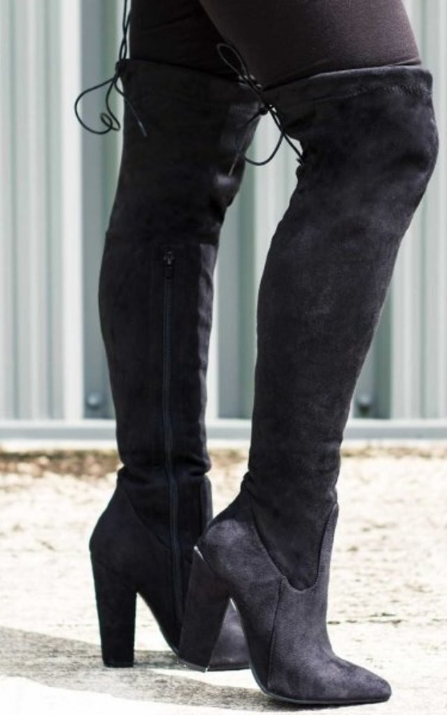 69f5a105d55 Osca Lace Up Thigh High Boots Black Suede Style | SpyLoveBuy | SilkFred