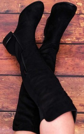 Gianvito Stretch Block Heel Over Knee High Tall Boots - Black Suede Style by SpyLoveBuy
