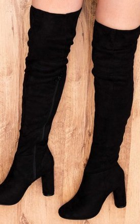 Lincoln block heel over knee tall boots - black suede style by SpyLoveBuy Product photo