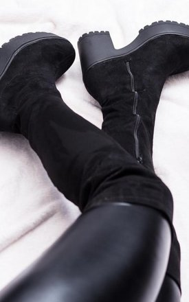 Wistle cleated sole stretch over knee boots - black suede style   by SpyLoveBuy Product photo
