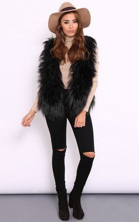 Viola black faux fur sleeveless jacket by Dolly Rocka Product photo