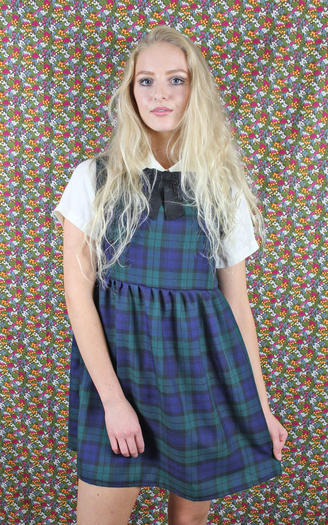 Navy Tartan Pinafore Dress by Vintage Style Me