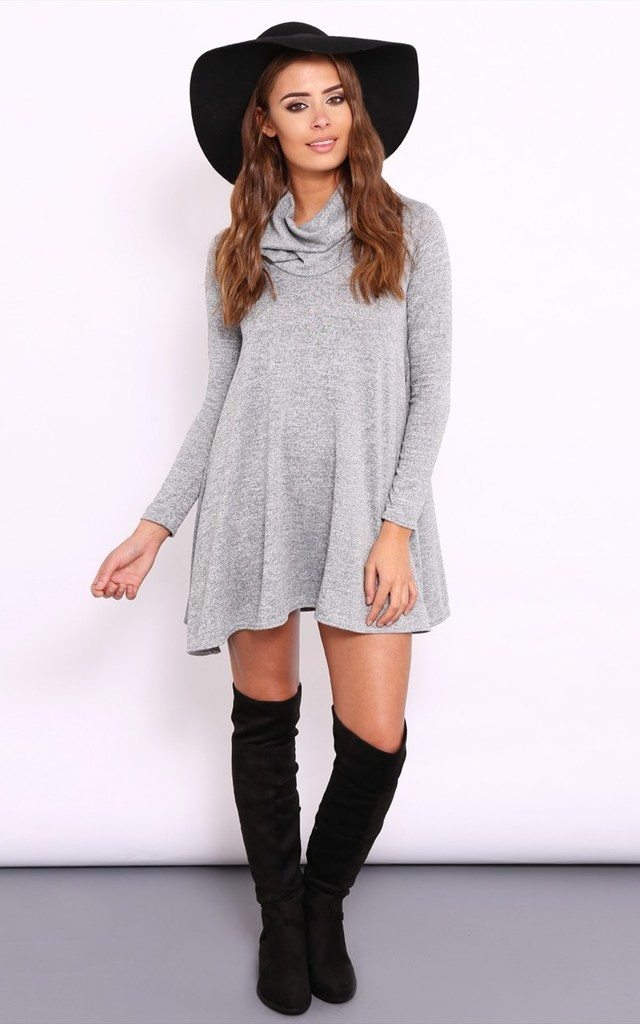 ASHLEE Grey Roll Neck Swing Dress by Dolly Rocka