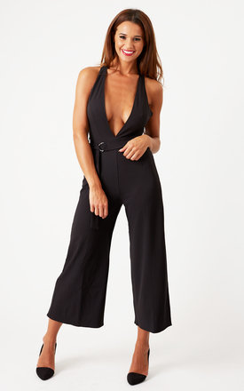 Plunge Neck Culotte Jumpsuit Black by Oh My Love Product photo