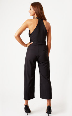 Plunge Neck Culotte Jumpsuit Black by Oh My Love