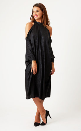 High neck open shoulder dress by Liquorish Product photo