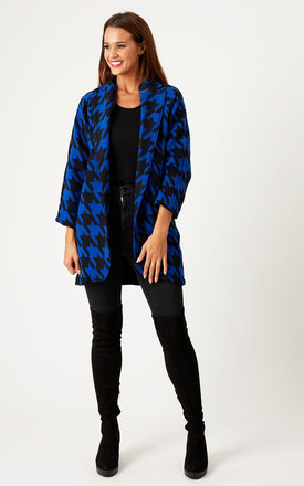 Houndstooth print leather detailed wool coat by URBAN TOUCH Product photo