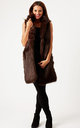Chocolate Camille Long Line Faux Fox Gilet by Faux England