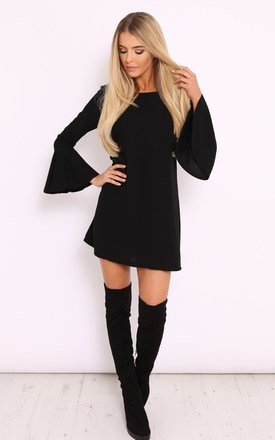 Pippa black bell sleeve swing dress by LullaBellz Product photo