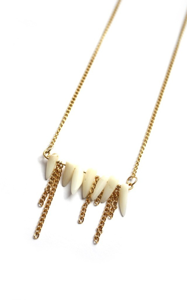 Tooth Necklace in Gold by Aluna Mae