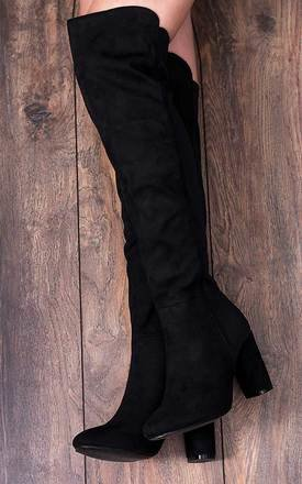 Playgirl stretch block heel over knee tall boots by SpyLoveBuy Product photo