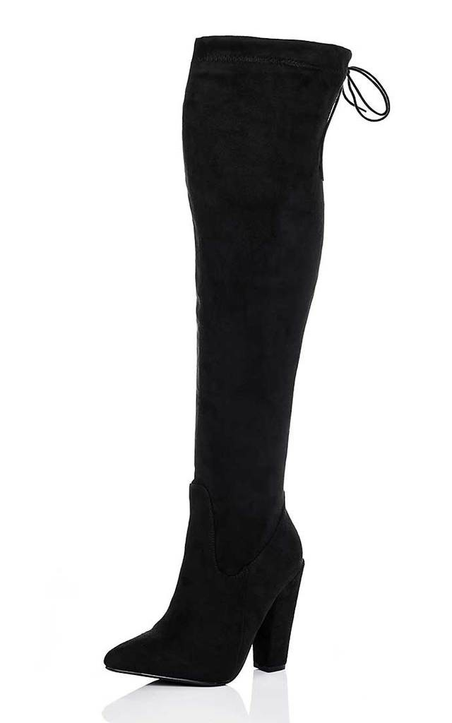OSCA Lace Up Thigh High Boots - Black Suede Style by SpyLoveBuy