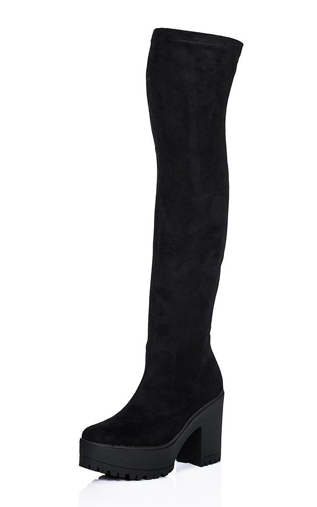WISTLE Cleated Sole Stretch Over Knee Boots - Black Suede Style by SpyLoveBuy