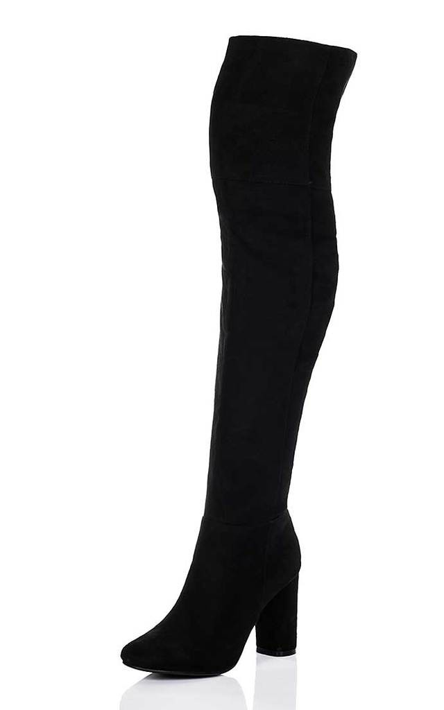 f80f4d9f519 LINCOLN Block Heel Over Knee Tall Boots - Black Suede Style by SpyLoveBuy