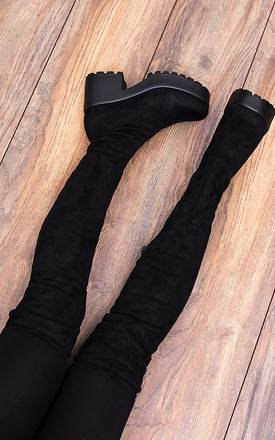 Frisco Platform Block Heel Over Knee Tall Boots - Black Suede Style by SpyLoveBuy