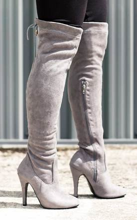 Ulia lace up thigh high boots - grey suede style by SpyLoveBuy Product photo