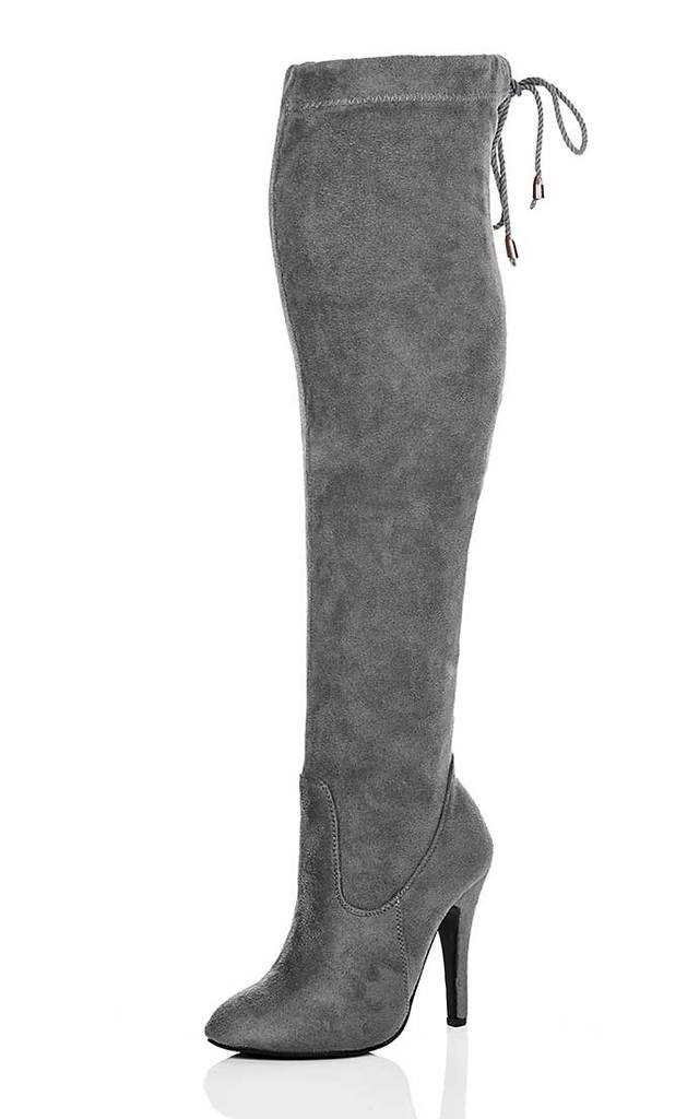 ulia lace up thigh high boots grey suede style silkfred