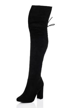 MAIDEN Lace Up Block Heel Over Knee Tall Boots - Black Suede Style by SpyLoveBuy