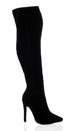 LEON High Heel Stiletto Over Knee Tall Boots - Black Suede Style by SpyLoveBuy
