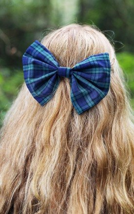 Oversized Tartan Hair Bow in Green by Beauxoxo