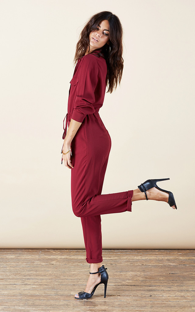 Luciana Jumpsuit in Oxblood Red image