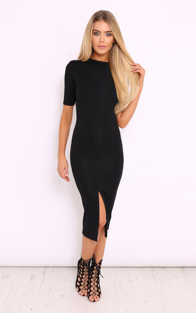 Giana black front split midi dress by LullaBellz Product photo