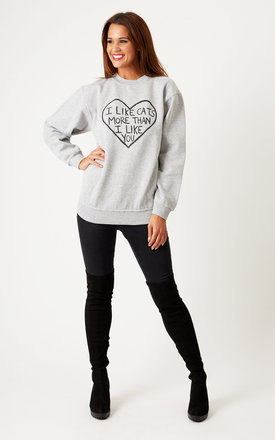 Oversized 'i like cats' boyfriend sweater grey by Cats got the Cream Product photo