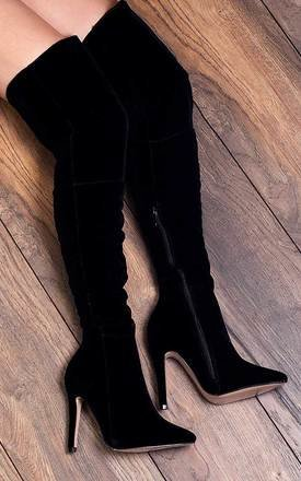 BALI High Heel Stiletto Over Knee Tall Boots - Black Suede Style by SpyLoveBuy