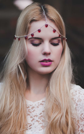 Red Heart Chain Headpiece by Beauxoxo