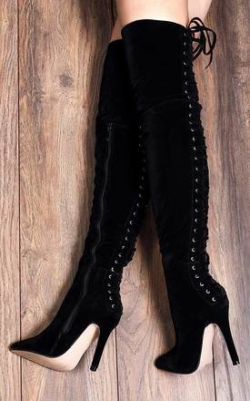 ENYA Lace Up High Heel Stiletto Over Knee Tall Boots - Black Suede Style by SpyLoveBuy