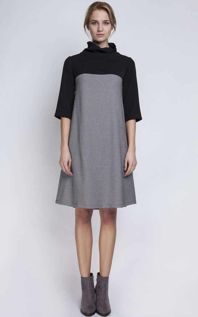 Two Tone Pepito and Black Polo Neck Dress by Lanti