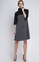 Two Tone Charcoal and Black Polo Neck Dress by Lanti