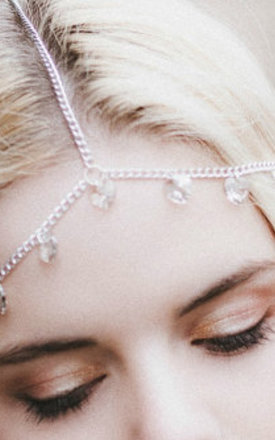 Silver Crystal Hearts Headdress by Beauxoxo