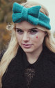 Teal Knitted Bow Headband by Beauxoxo