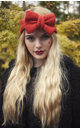 Burnt Orange Knitted Bow Headband by Beauxoxo