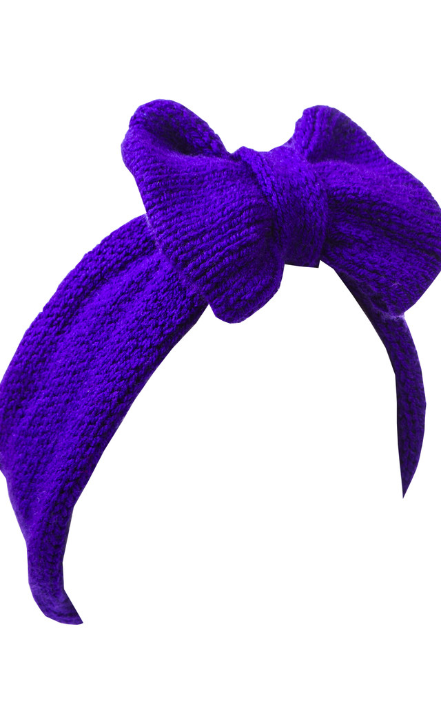 Purple Knitted Bow Headband by Beauxoxo