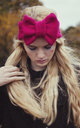 Hot Pink Knitted Bow Headband by Beauxoxo