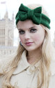 Bottle Green Knitted Bow Headband by Beauxoxo