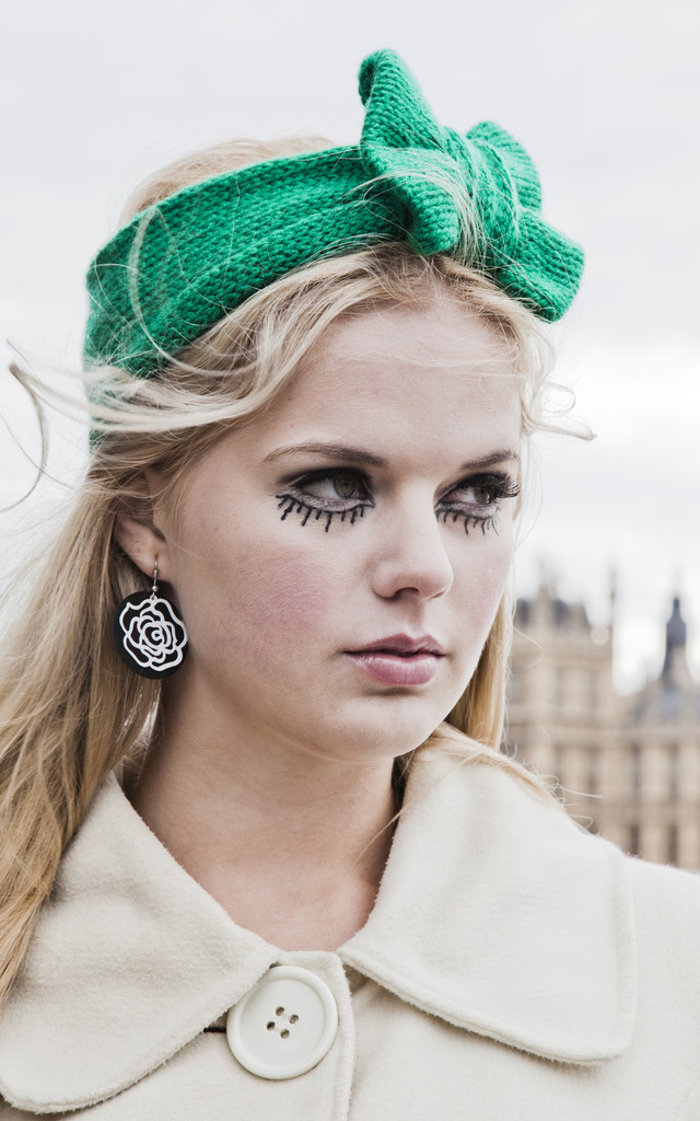 Emerald Green Knitted Bow Headband by Beauxoxo