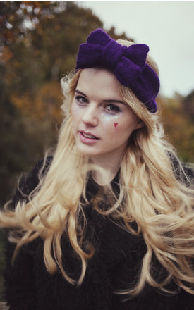 Deep Purple Knitted Bow Headband by Beauxoxo