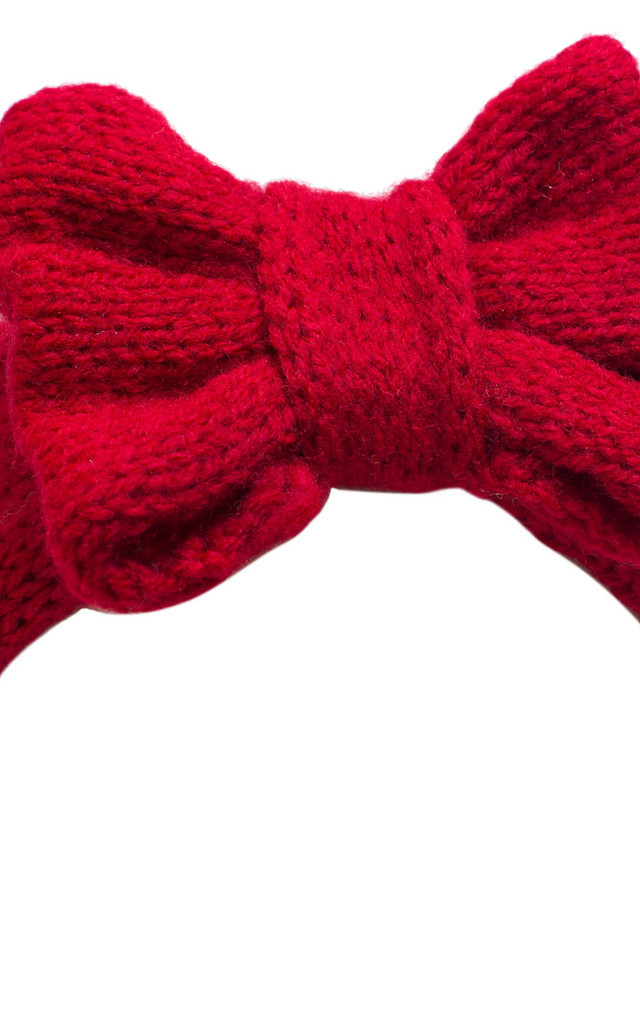 Cherry Red Knitted Bow Headband by Beauxoxo