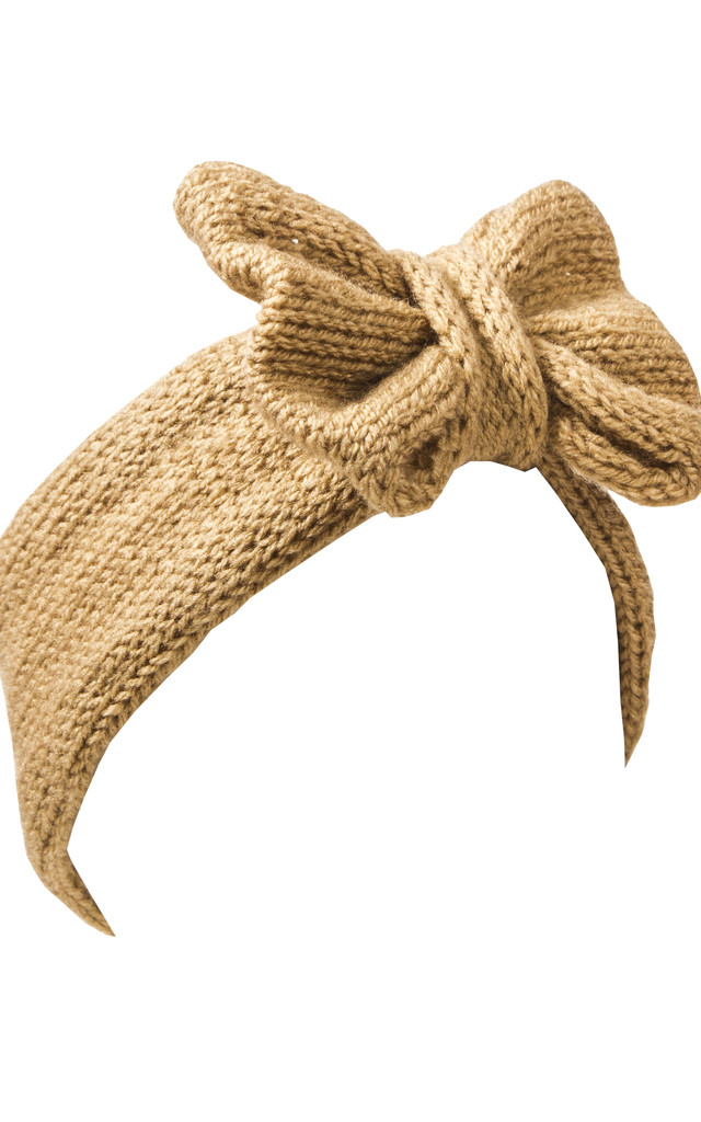 Camel Tan Knitted Bow Headband by Beauxoxo